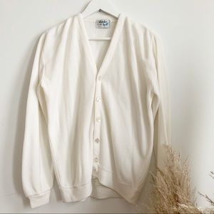 Vtg 70s White Cardigan by Fletcher Sportswear M